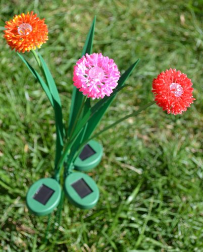 Solaration 1013ORPO Onion Blossom Solar Lawn LED Lights with Pink Orange and Red Flowers, Set of 3 (Light Three Blossom)
