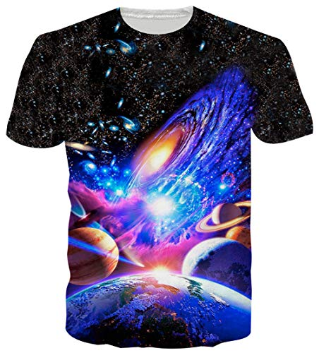 Goodstoworld Men's Cool Graphic Tees Male Gay Guy Designer Shirts Colorful Galaxy Planet 3D Print Women Teen Boys Beach Holiday Tee Shirt Tops Couple Matching Outfits XX-Large (Best Shirts For Guys)