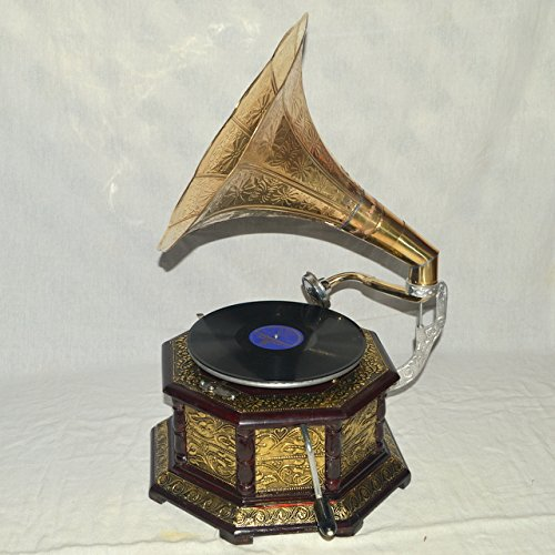 HMV Gramophone Phonograph Brass Crafted Base And Horn Antique Vintage Look WORKING SOUND BOX NEEDLE -