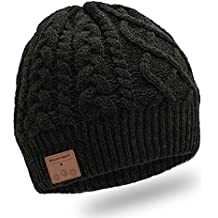 Enjoybot Bluetooth Beanie Wireless Knit Winter Hats Cap with Built-in Stereo Speakers and Microphone for Outdoor Sports and Christmas Gift (Unisex, 002-Black)