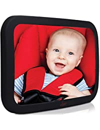 Baby Backseat Mirror For Car - Largest and Most Stable Mirror with Premium Matte Finish - Crystal Clear View of Infant in Rear Facing Car Seat - Safe, Secure and Shatterproof BOBEBE Online Baby Store From New York to Miami and Los Angeles