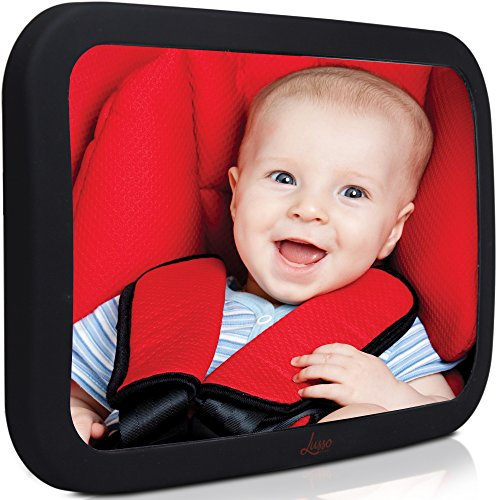 Baby Backseat Mirror For Car - Largest and Most Stable Mirror with Premium Matte Finish - Crystal Clear View of Infant in Rear Facing Car Seat - Safe, Secure and Shatterproof (Rear Installation)