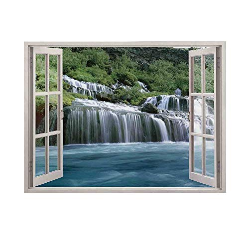 House Decor Photography Background,Majestic Waterfall Landscape Through A Window Imaginary Secret Paradise at Home Decor Backdrop for Studio,10x6ft