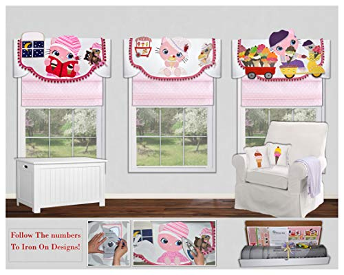 Traceable Designer Window Treatment, Kitty Valance, No-Sew Children's Room Decorating Kit ()