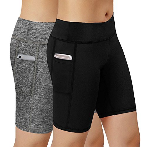 HuaTu Women Performance Compression Shorts with Side Pocket Pack of 2 (XL Waist 27.56-43.31inch, Black & Gray)
