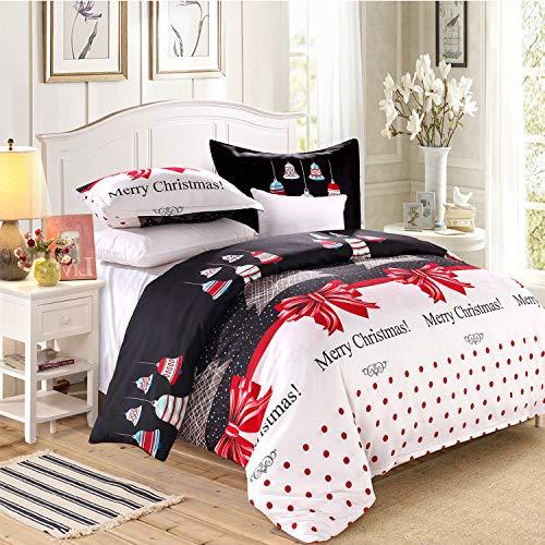 LAMEJOR Duvet Cover Sets King Size Christmas Series Christmas Tree and Bells Pattern Bedding Set Comforter Cover(1 Duvet Cover+2 Pillowcases)