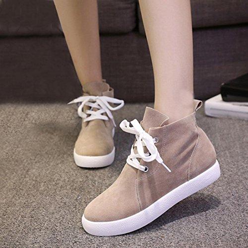 Botines De Mujer De Corte Medio Binmer (tm), Con Zapatos De Moda Con Cordones Y Hebilla Gris