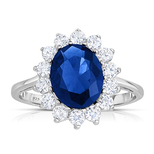 Unique Royal Jewelry Sterling Silver Kashmir Blue Sapphire CZ with White CZ Helo Jacket Princess Diana Kate Middleton Engagement Ring - Size 8 ()