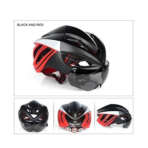 "V-Best Bike Cycling Helmet with Detachable Magnetic Goggles Visor Shield Adjustable Men Women Road & Mountain Biking Bicycle Helmet Safety Protection (BlackRed, Standard Size(22""-24""))"