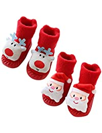Dasior 2 Pairs Baby Boy Girls Toddlers Non-skid Chirstmas Indoor Moccasins Shoes Socks Booties Slipper