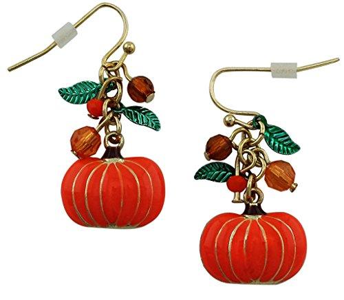 Halloween Pumpkin Charm Drop Dangle Earrings, Gold Plated, Hypoallergenic Fashion Jewelry.