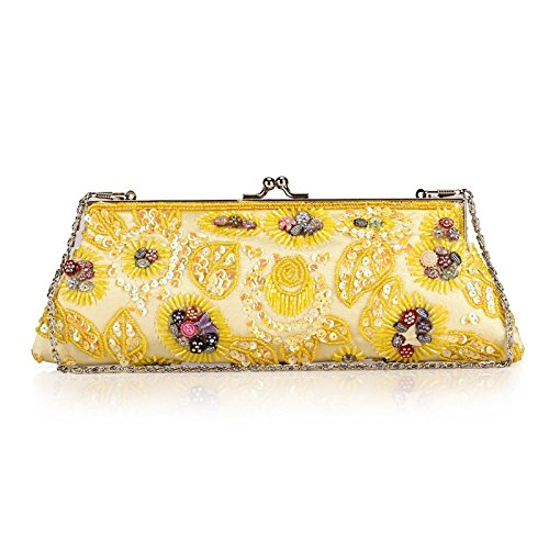 Cheongsam Evening Jewels Women's Clutch Grab Bag Yellow Dress Beaded Hand Kissing Vintage Lock XOZ0qfBZ
