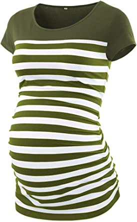 Caregabi Maternity Shirts Color Block Striped Short Sleeves Tops Side Ruched Pregnant Clothes For Women At Amazon Women S Clothing Store