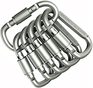 6 pcs Aluminum D-Ring Locking Carabiner