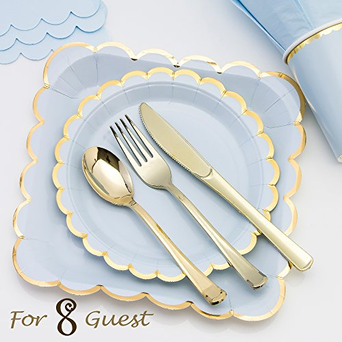 Pink Blue and Gold Rim Disposable Party Tableware for 8 Guests - Luxury Plates , Cups, Napkins and Cutlery