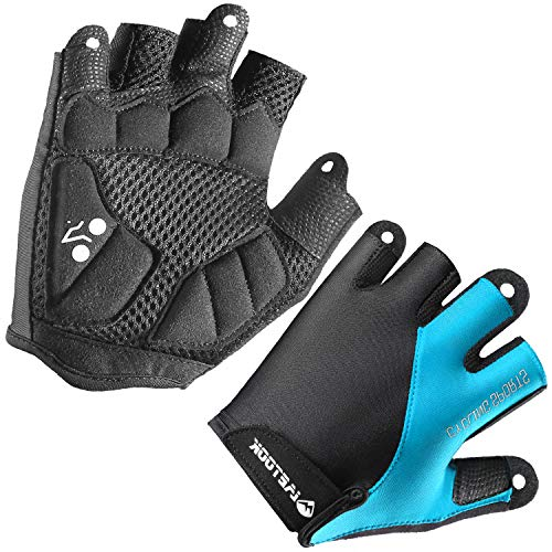 Letook Men's Padded Half Finger Bike Gloves with Breathable Mesh Shock-Absorbing Air Ventilation Palm Summer Cycling Gloves for MTB Bicycle Riding Blue L
