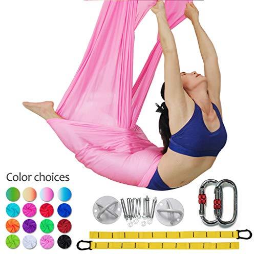 DASKING Premium Aerial Yoga Hammock Kit Flying Yoga Silk Kit (Cherry Pink) -
