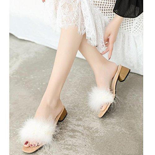 Mode Flip Blanc Black Femme en Taille Chaussures Air Belle Personnalité Flop Plein D'été CN36 Sandales Chaussures UK4 EU36 Maomao Couleur Xy® De Paresseux Bq5TYU