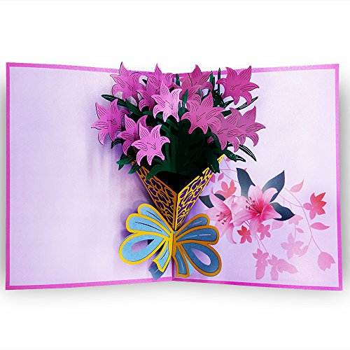 3D Floral Pop Up Card and Envelope - Funny Unique Pop Up Greeting Card for Birthday, Christmas, New Year, Anniversary, Valentine, Wedding, Graduation, Thank You. Pink Flower Bouquet (Greeting Words For Christmas & New Year)