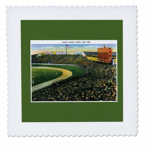 3dRose qs_170363_3 Yankee Stadium, Bronx, New York City Vintage Postcard Reproduction Quilt Square, 8 by 8