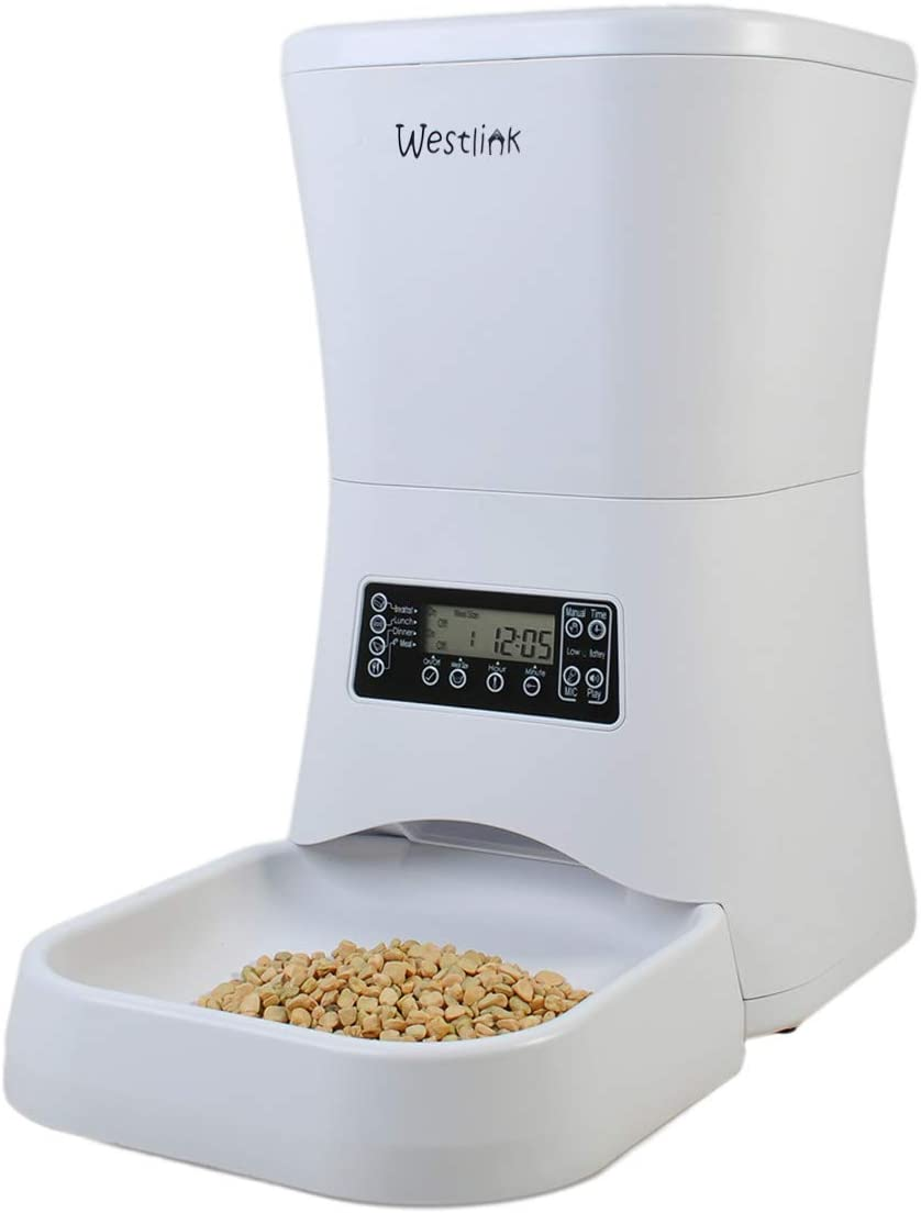 WESTLINK 7L Automatic Pet Feeder Food Dispenser for Large Small Dogs and Cats Portion Control, Voice Recorder, Programmable Timer for up to 4 Meals per Day