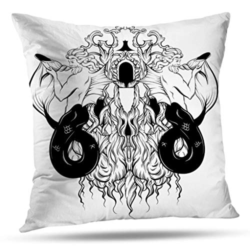 - Alricc Grey and Yellow Art Pillow Cover, with Vintage Tattoo Sketched Artwork Banner Shirt Decorative Throw Pillows Cushion Cover for Bedroom Sofa Living Room 18X18 Inches