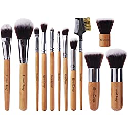 EmaxDesign 12 Pieces Makeup Brush Set Professional Bamboo Handle Premium Synthetic Kabuki Foundation Blending Blush Concealer Eye Face Liquid Powder Cream Cosmetics Brushes Kit With Bag