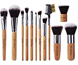 EmaxDesign 12 Pieces Makeup Brush Set Professional Bamboo Handle Premium Synthetic Kabuki Foundation