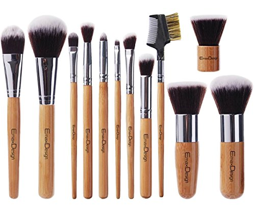 EmaxDesign 12 Pieces Makeup Brush Set Professional Bamboo Handle Premium Synthetic Kabuki Foundation Blending Blush Concealer Eye Face Liquid Powder Cream Cosmetics Brushes Kit With Bag (Best Mac Brush For Powder Foundation)