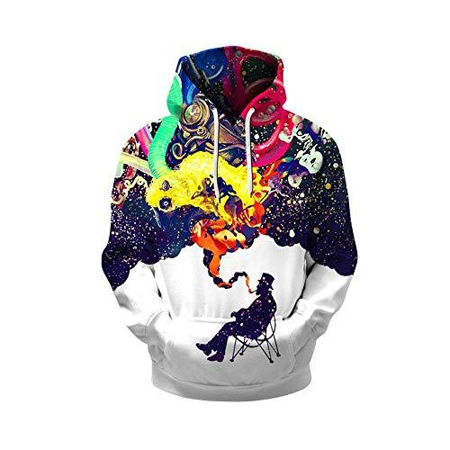 Bon Soir Hooded 3D Digital Print Hoodies Sweatshirts Printing Casual Hoodies ()