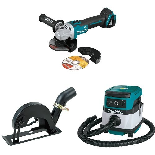 Makita XAG09Z 18V LXT Brushless 4-1/2-Inch - 5-Inch Cut-Off/Angle Grinder, 193794-5 Dust Extraction Cutting Guard, XCV04Z 18V X2 LXT (36V) 2.1 Gallon HEPA Filter Dry Dust Extractor/Vacuum