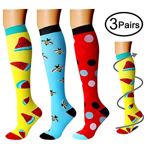 (Compression Socks (3 Pairs), 15-20 mmHg is Best Athletic & Medical for Men & Women, Running, Flight, Travel, Nurses - Boost Performance, Blood Circulation & Recovery (Small/Medium, Assorted 7))