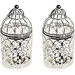 Ciaoed Decorative Tealight Lantern Vintage Birdcage Style,Table Decoration of Party, 2 Pack(Silver)
