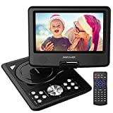 DBPOWER 9.5'' Portable DVD Player with Swivel Screen, Supports SD Card and USB, Direct Play in Formats MP4/AVI/RMVB/MP3/JPEG (9.5'' Black)