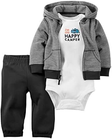 Carter's Baby Boys 3-Piece Short-Sleeve Safari Bodysuit, Happy Camper, newborn