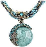 Nurbo Women's Retro Bohemian Style Turquoise Rhinestone Pendant Collar Chain Neck