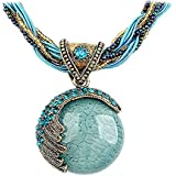 Harlorki Women Lady Retro Vintage Bohemian Style Turquoise Rhinestone Pendant Collar Chain Necklace Fashion Jewelry