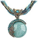 Nurbo Women's Retro Bohemian Style Turquoise Rhinestone Pendant Collar Chain Necklace