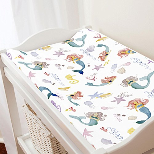 - Carousel Designs Watercolor Mermaids Changing Pad Cover - Organic 100% Cotton Change Pad Cover - Made in The USA