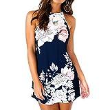 Quealent Women's Summer Halter Neck Floral Print Sleeveless Casual Mini Dress