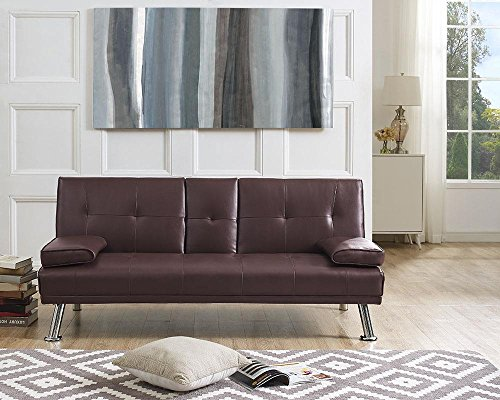 Naomi Home Futon Sofa Bed with Armrest