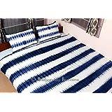 Bhagyoday Fashions - Reversible Shibori Indigo Blue Boho Duvet Quilt Cover - Tie Dye Bedding Bedspread - Mandala Indian Quilt Blanket Cover - Urban Queen Size Decor Throw