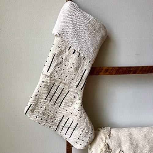 Mud Cloth Christmas Stocking Mudcloth Stocking White w Black Arrow Print