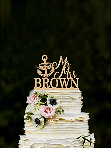 Mr And Mrs Cake Topper With Anchor, Nautical Anchor Cake Topper, Wedding Cake Topper, Personalized Cake Topper With Last Name, Gold Silver ()