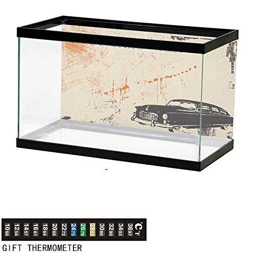 Jinguizi Vintage CarAquarium BackgroundArt with Classic Old Fashioned Car on The Street Vintage Postcard Style Design24 L X 16