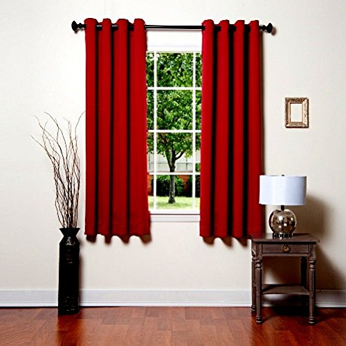 Gorgeous Home (#32) 2 PANELS SOLID BRIGTH RED 63″ SHORT THERMAL FOAM LINED BLACKOUT HEAVY THICK WINDOW CURTAIN DRAPES SILVER GROMMETS For Sale