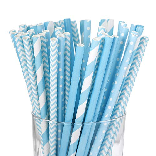 Blue Paper Straws Biodegradable - Value Pack 100 Pack Eco-frendly Straw Bulk for Party Supplies | Birthday | Wedding | Bridal | Baby Shower | DIY Idea -