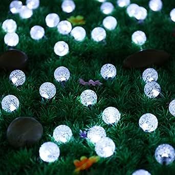 dolamen Solar exterior guirnalda Justo luces (forma esférica, 20FT, 30ledes, IP65impermeable solar guirnalda luces Ambiente iluminación para jardín, patio, jardín, hogar, Árbol de Navidad Party &, y todos los otros Festivales (Blanco)