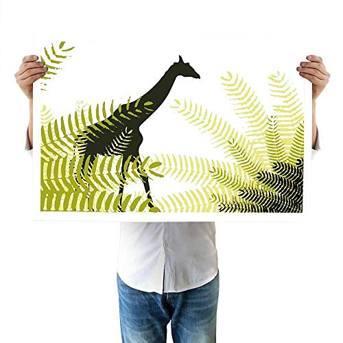 (Africa Drawing Silhouette of Giraffe Ferns National Park Terrestrial Tall Animal Print Accessories 16