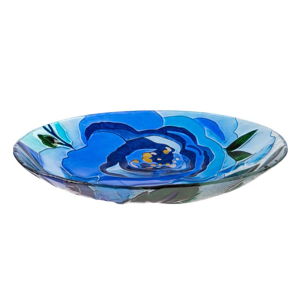 """Goose Creek 18"""" Glass Bird Bath Bowl, Blue Blossom"""